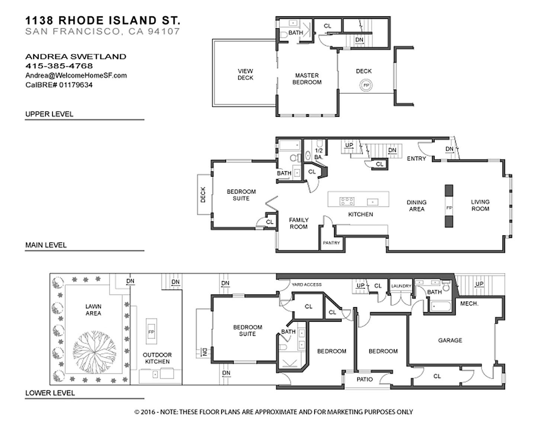 San francisco townhouse floor plans for Floor design sf